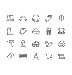 Safety equipment required ppe flat line icons set vector