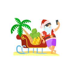 santa claus standing near sleigh christmas vector image