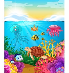 Sea animals swimming under the ocean vector