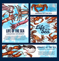 Sea life posters of sketch fish animals vector
