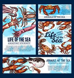 Sea life posters of sketch fish animals vector