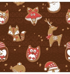 Seamless pattern with Christmas gingerbread vector