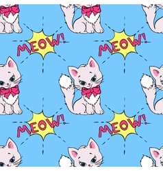 Seamless pattern with cute cats and MEOW saying vector