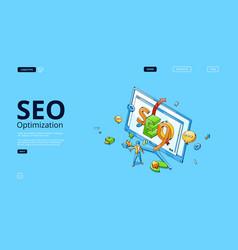 seo optimization isometric landing page web banner vector image
