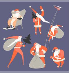 set funny cartoon santa clauses vector image