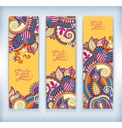 Set of decorative flower yellow template banner vector