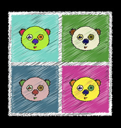 Set of flat shading style icons teddy bear face vector