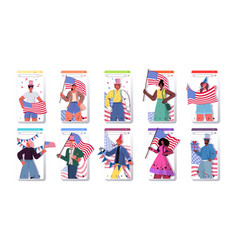 Set people holding usa flags mix race men women vector