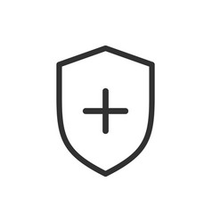 shield and cross icon medicine concept simple vector image