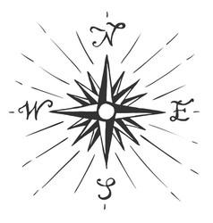 Sketch sign wind rose vector