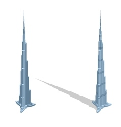Skyscraper Burj Khalifan in United Arab Emirates vector image