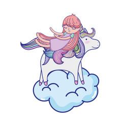 Sleeping girl with beauty unicorn in the cloud vector