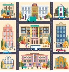 Small town and buildings vector