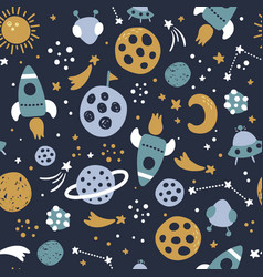 space seamless pattern on dark blue background vector image