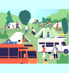 summer camp happy diverse people camping on vector image