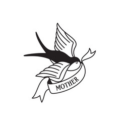 swallow tattoo with wording mother traditional vector image