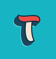 T letter logo in classic sport style vector