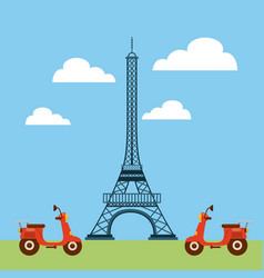 Tower eiffel french culture vector
