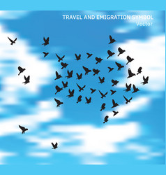 travel and emigration birds symbol in blue clouds vector image