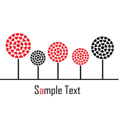 trees with hearts on a white background vector image