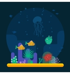 Underwater background with various water plant and vector