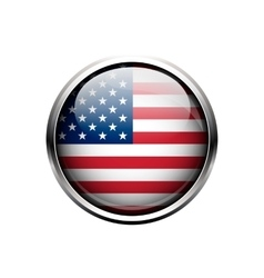 united state america flag on button vector image