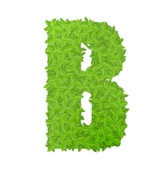 Uppecase letter B consisting of green leaves vector image