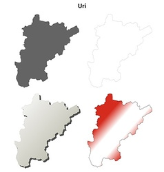 Uri blank detailed outline map set vector