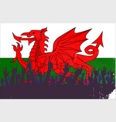 Welsh flag with audience vector