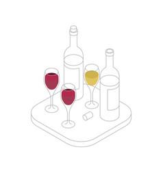 wine tasting isometric line vector image