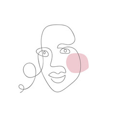 woman face one line drawing monoline vector image