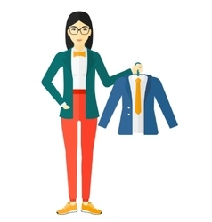 Woman holding jacket vector image