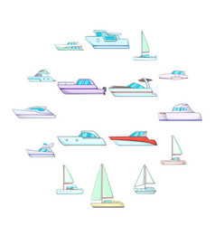yachts icons set cartoon style vector image