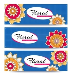 banner with flowers vector image