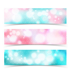 glowing abstract banner set vector image vector image