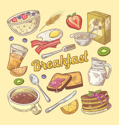 hand drawn breakfast doodle with toasts vector image vector image