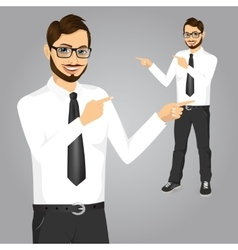 hipster businessman pointing something vector image vector image