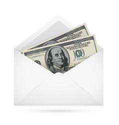 Open envelope containing dollar banknotes on a vector