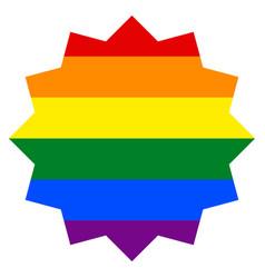 Rainbow flag in circle dodecagonal star shape vector