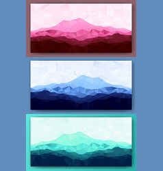 set of triangle low poly mountains vector image