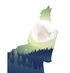 Wolf howling in the night forest2 vector