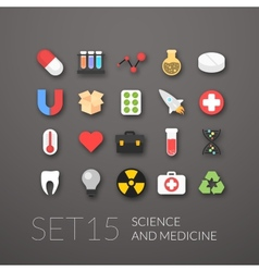 Flat icons set 15 vector image vector image