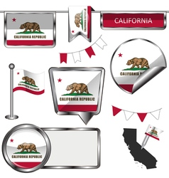 Glossy icons with Californian flag vector image vector image