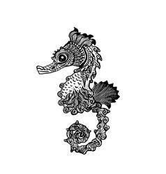 Hand drawn sea horse zentangle style vector image