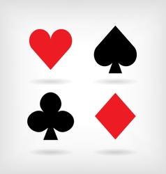 Set of symbols of playing cards suit with shadows vector image