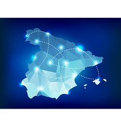 Spain country map polygonal with spot lights vector image vector image