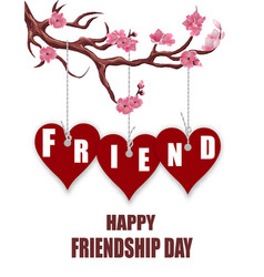 beautiful postcard for friendship day hearts of vector image