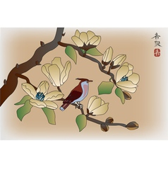 Blooming magnolia in spring a bird vector image vector image