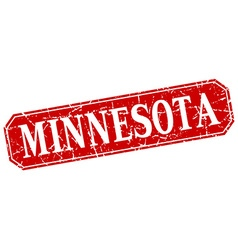 Minnesota red square grunge retro style sign vector