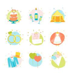 cartoon wedding color icons set vector image